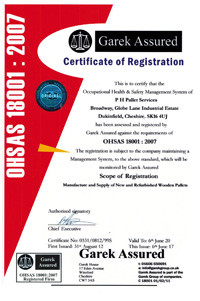 PHPallets OHSAS 18001 Certificate